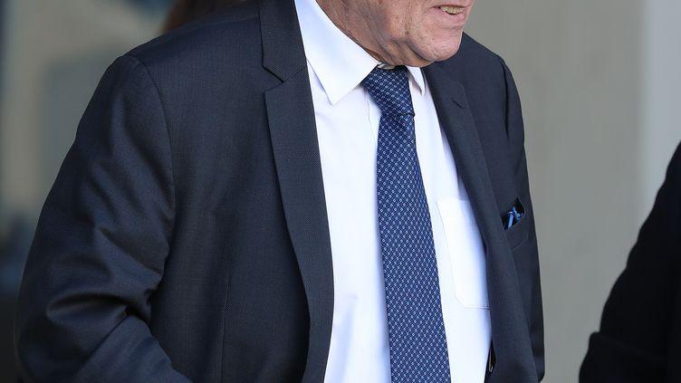 Jean-Yves Le Drian quitte le palais de l'Elysée, le 13 février 2019. (MUSTAFA YALCIN / ANADOLU AGENCY / AFP)