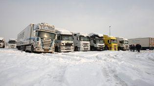 Des camions bloqués par la neige, le 2 décembre 2010 à Carentan (Manche). (KENZO TRIBOUILLARD / AFP)