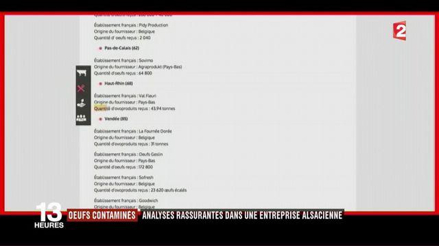 Oeufs contaminés : des analyses rassurantes dans une entreprise alsacienne l'enquête sur les oeufs contaminés se poursuit.