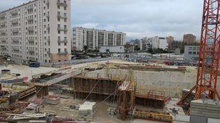 Le chantier de la gare de la ligne 15 du Grand Paris Express. (ARIANE RIOU / MAXPPP)