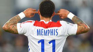 Memphis Depay, le capitaine de l'OL, dimanche 24 mai 2021, à l'occasion de la 38e et dernière journée de Ligue 1. (NICOLAS TUCAT / AFP)