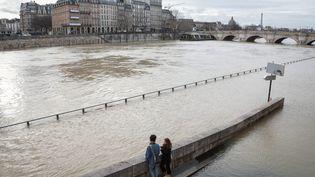 La crue de la Seine près du Pont Neuf à Paris. (MAXPPP)