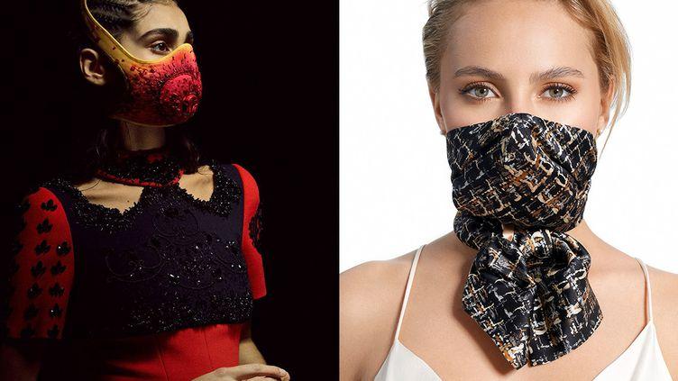Masque haute couture Aouadi (à gauche) et masque foulard Baylandi (à droite) (Aouadi (à gauche) et SLAM (à droite))