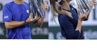 Cameron Norrie et Paula Badosa ont remporté leur deuxième de leur carrière à Indian Wells, dimanche 17 octobre 2021. (GETTY IMAGES VIA AFP / CLIVE BRUNSKILL / SEAN M. HAFFEY)