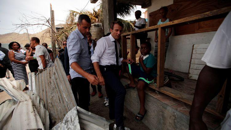 Le président de la République, Emmanuel Macron, en visite sur l'île de Saint-Martin, le 12 septembre 2017. (REUTERS)