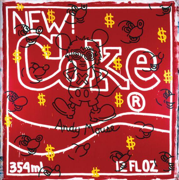 "Keith Haring, ""Andy Mouse – New Coke"", 1985. Avec l'aimable autorisation de la galerie Gmurzynska. Acrylique sur toile. 303,5 x 296,5 cm. (KEITH HARING FOUNDATION)"