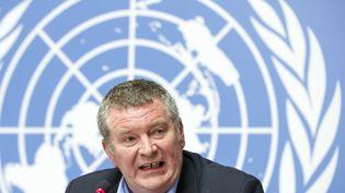Mike Ryan,chargé des situations d'urgence à l'Organisation mondiale de la santé, s'exprime lors d'une conférence de presse de l'OMS à Genève (Suisse), le 1er février 2019. (MAXPPP)