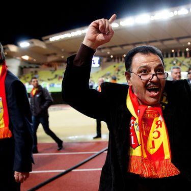 Le président du RC Lens Gervais Martel (G) et l'actionnaire principal du club Hafiz Mammadov, lors d'un match à Monaco, le 26 mars 2014. (  MAXPPP)