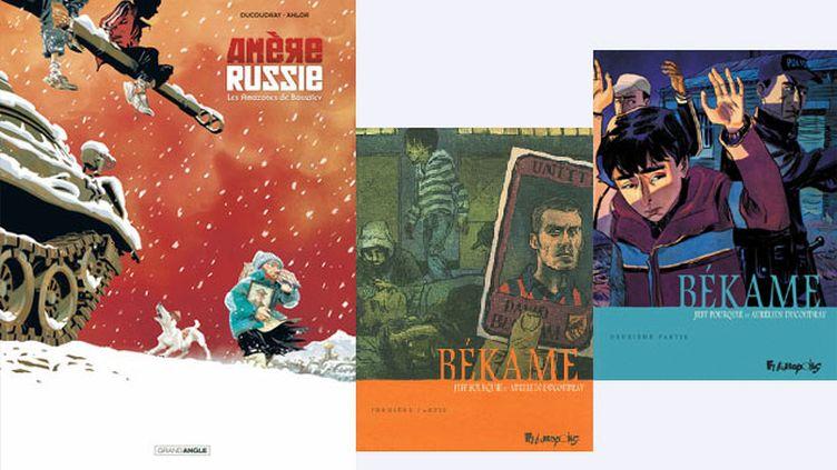 """(""""Amère Russie"""" et """"Békame"""", deux histoires d'Aurélien Ducoudray © Anlor, Bamboo / Jeff Pourquié, Futuropolis / Jeff Pourquié, Futuropolis)"""
