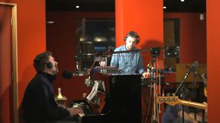 "Blur en studio pour ""Under The Westway"" 2012.  (Blur)"