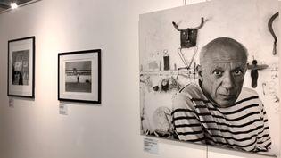 """Exposition """"Robert Doisneau : portraits d'artistes et vues de Lyon"""" au musée Jean Couty de Lyon. Ici Picasso dans son atelier de Vallauris en 1952 (O. Morain)"""
