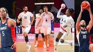 En basket, handball et volley, les équipes de France disputent les quarts de finale. (CROSNIER Julien, MONTIGNY Philippe, CURUTCHET Vincent / KMSP via AFP)