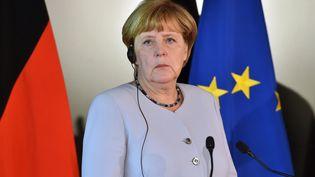 Angela Merkel, lors d'une conférence de presse avec le Premier ministre italien Matteo Renzi, le 31 août 2016, à Maranello (Italie). (GIUSEPPE CACACE / AFP)
