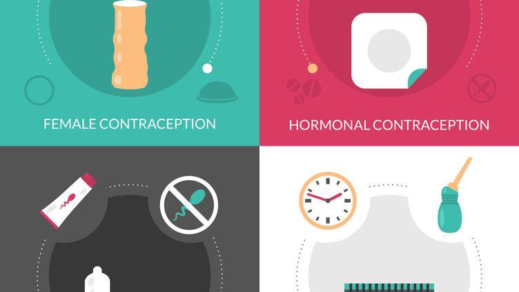 Illustrations présentantplusieurs moyens de contraception. (MACROVECTOR / SCIENCE PHOTO LIBR / MVE)