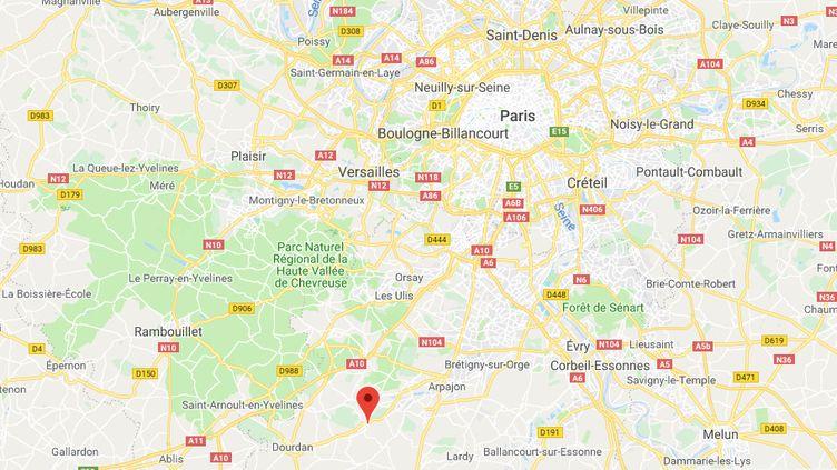 Le jeune homme a indiqué avoir été enlevé, vendredi 14 décembre 2018, dans le Val-de-Marne, puis emmené dans l'Essonne, à Saint-Chéron (CAPTURE ECRAN GOOGLE MAPS)