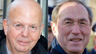 Patrick Buisson et Claude Guéant. (MIGUEL MEDINA / AFP)