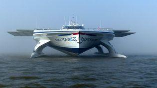 """Le """"Race for Water"""", trimaran suisse naviguant grâce à l'énergie solaire. (RACE FOR WATER)"""
