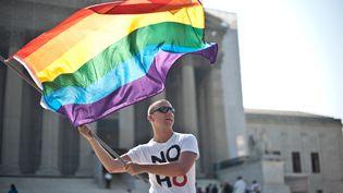 Un défenseur des droits des homosexuels manifeste devant la Cour suprême des Etats-Unis, à Washington, le 25 juin 2013. (NICHOLAS KAMM / AFP)