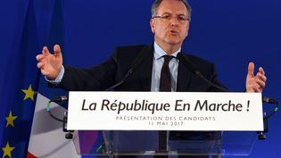 Richard Ferrand, le 11 mai 2017, au siège de La République en marche,à Paris, lors de la présentation des candidats du mouvement aux législatives. (ERIC FEFERBERG / AFP)