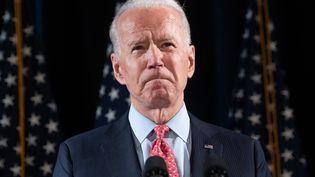 Le candidat démocrate à la présidentielle américaine, Joe Biden, lors d'une conférence de presse à Wilmington (Delaware), le 12 mars 2020. (SAUL LOEB / AFP)