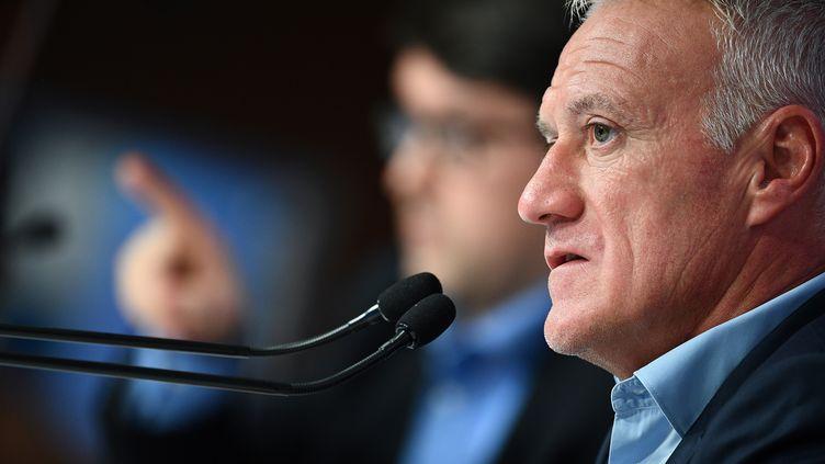 Le sélectionneur des Bleus Didier Deschamps lors d'une conférence de presse à Paris, le 30 août 2018. (FRANCK FIFE / AFP)