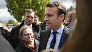 Emmanuel Macron, le candidat d'En marche ! à la présidentielle, en déplacement à l'usine Whirlpool d'Amiens (Somme), le 26 avril 2017. (ERIC FEFERBERG / AFP)