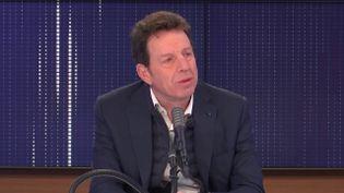 """Geoffroy Roux de Bézieux, président du Medef était l'invité du """"8h30 franceinfo"""", mercredi 6 janvier 2021. (FRANCEINFO / RADIOFRANCE)"""
