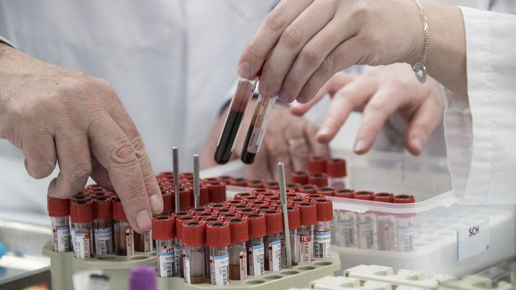 Des tests sérologiques pour le Covid-19 effectués dans un laboratoire de Colmar, dans le Haut-Rhin, le 14 avril 2020. (SEBASTIEN BOZON / AFP)