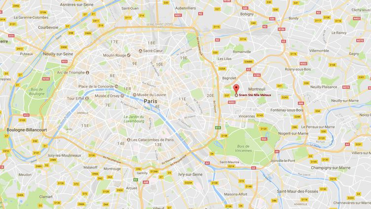 Deux personnes ont été placées en garde à vue mercredi 27 septembre à Montreuil (Seine-Saint-Denis) lors d'une opération de police pour déloger des manifestants qui bloquaient une usine qu'ils accusent d'être toxique. (GOOGLE MAPS)