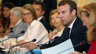 Le président Emmanuel Macron à l'ouverture du séminaire de rentrée du gouvernement, à l'Elysée, le 28 août 2017. (CHRISTIAN HARTMANN / AFP)
