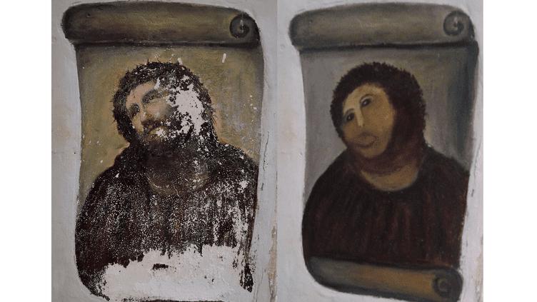"""""""Ecce Homo"""", avant et après la restauration inopportune. (CENTRO DE ESTUDIOS BORJANOS / DR)"""