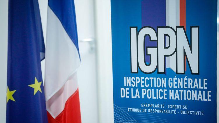 Le logo de l'Inspection générale de la police nationale, en juin 2019 à Paris. (MAXPPP)