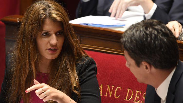 Marlène Schiappa à l'Assemblée nationale lors des débats sur le projet de loi sur les violences sexuelles, le 16 mai 2018. (ERIC FEFERBERG / AFP)