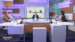 """Le plateau des """"débats de l'éco"""", dimanche 11 octobre 2020. (FRANCEINFO)"""