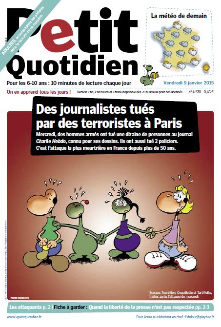 """Capture écran de la une de """"Mon petit quotidien"""" daté du 9 janvier 2015. (FRANCETV INFO / MON PETIT QUOTIDIEN )"""