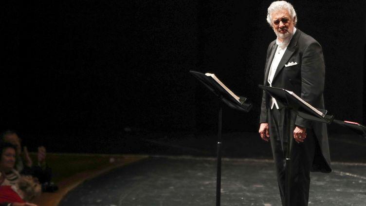 Le ténor espagnol Placido Domingo au festival de Salzburg, en Autriche, le 25 août 2019. (FRANZ NEUMAYR / APA)