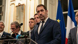 Le ministre de l'Intérieur, Christophe Castaner, lors d'un point presse après la fusillade à Strasbourg (Bas-Rhin), le 12 décembre 2018. (CHRISTOPH DE BARRY / HANS LUCAS / AFP)