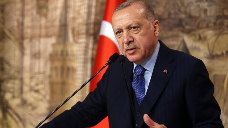 Le président turc, Recep Tayyip Erdogan, le 29 février 2020 à Istanbul. (MUSTAFA KAMACI / ANADOLU AGENCY / AFP)