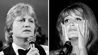 """Claude François dans l'émission """"Numéro Un"""" (photo non datée) ; Dalida en 1964  (Robert Picard / Ina / AFP - Zumapress / MaxPPP)"""