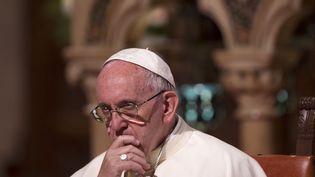 Le pape François dans la basilique Saint Francis, à Assisi (Italie), le 20 septembre 2016. (RICCARDO DE LUCA / ANADOLU AGENCY / AFP)
