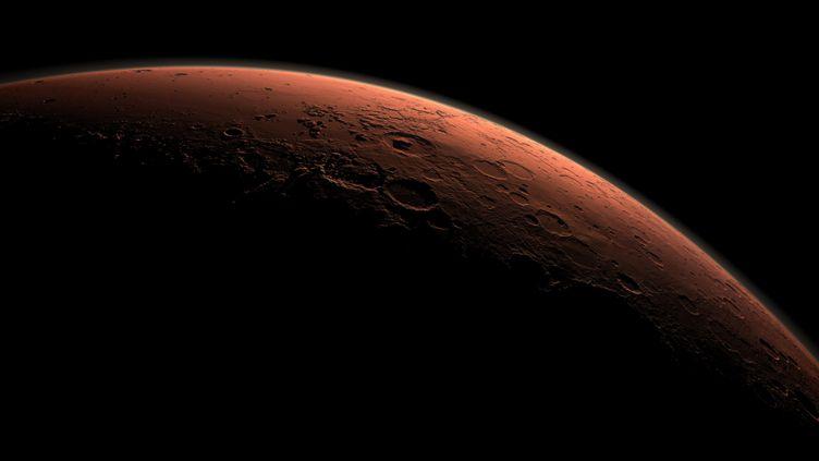 Une image générée par ordinateur d'une partie de la planète Mars, avec le cratère de Gale, fournie par la Nasa le 1er mai 2015. (NASA / REUTERS)