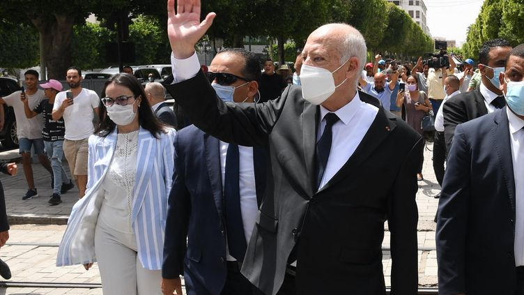 Le président tunisien, Kais Saied, à Tunis, le 1er août 2021. (TUNISIAN PRESIDENCY / AFP)