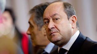 L'ancien patron du renseignement intérieur, Bernard Squarcini, lors d'une conférence de presse pour la remise d'un rapport sur les chiffres de la criminalité, à Paris, le 17 janvier 2012. (MARTIN BUREAU / AFP)