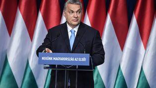 Le Premier ministre hongrois, Viktor Orban, lors d'un discours devant les membres et sympathisants de son parti Fidesz, le 10 février 2019 à Budapest (Hongrie). (ATTILA KISBENEDEK / AFP)