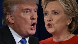 Donald Trump et Hillary Clinton lors du premier débat télévisé en vue de l'élection présidentielle américaine, le 26 septembre 2016 (PAUL J. RICHARDS / AFP)