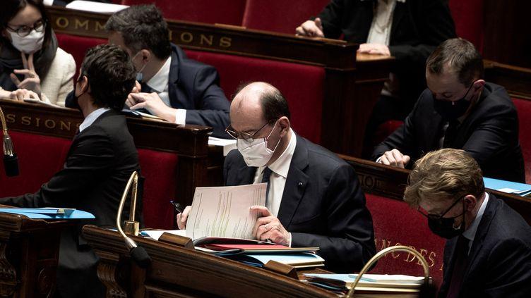Jean Castex, lors d'une séance hebdomadaire de questions au gouvernement, le mardi 16 février 2021. (ARTHUR NICHOLAS ORCHARD / HANS LUCAS)