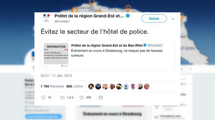 """Le préfet de la région Grand Est et du Bas-Rhin a fait état, le 11 décembre 2018 à 20h47, d'un incident en cours à Strasbourg. Mais certains internautes ont vu l'horaire """"11h47"""" sur leurs comptes Twitter. (CAPTURE D'ÉCRAN / TWITTER)"""