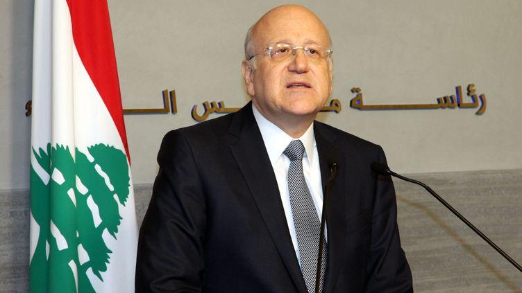 Le Premier ministre libanais Najib Mikati, annonce sa démission, le 22 mars 2013 lors d'une conférence de presse. (AFP PHOTO / HO / DALATI AND NOHRA)