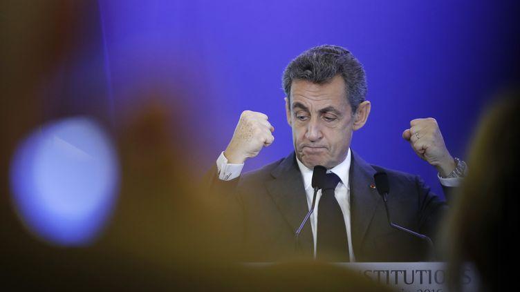 Nicolas Sarkozy, président des Républicains, donne un discours, le 29 juin 2016, à Paris. (FRANCOIS GUILLOT / AFP)