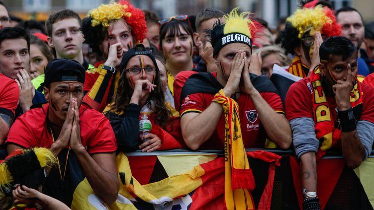 Supporters des Diables rouges le 10 juillet 2018 à Bruxelles. (ARIS OIKONOMOU / AFP)